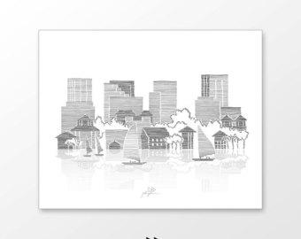 Drawn skyline city line Illustration drawn beach hand Hand