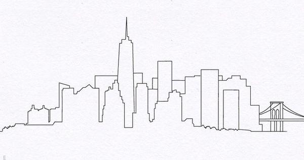 Drawn skyline city line Drawing Simple York Pinterest City
