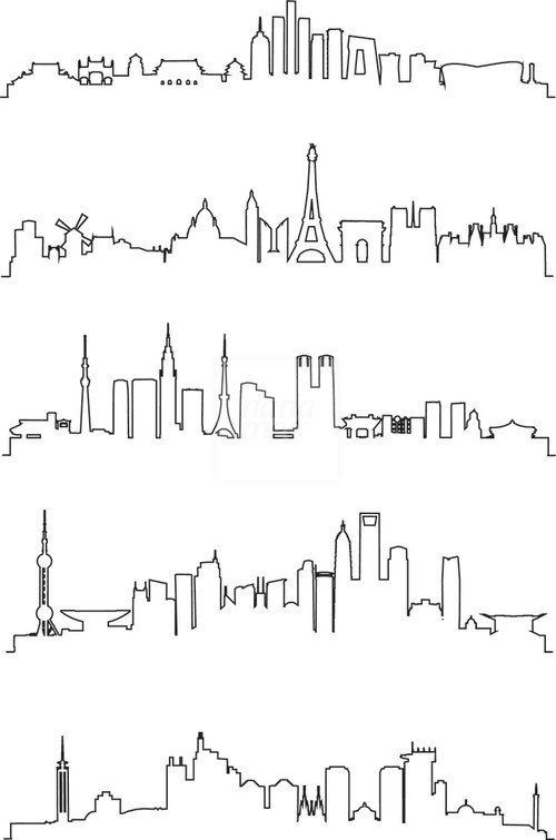 Drawn skyline city line Vector Line Art … Pinterest