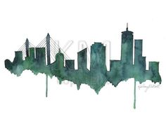 Drawn skyline city line Print home Painting decor/Green Skyline