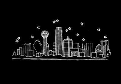 Drawn skyline dallas Texas Dallas Dallas Art City