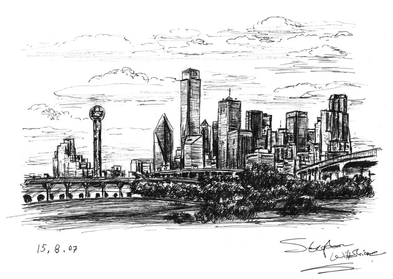 Drawn skyline dallas Prints and limited Dallas drawings