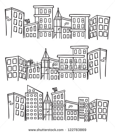 Drawn skyline doodle Skylines Style City  Stock