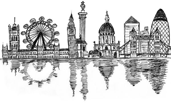 Drawn skyline doodle Skyline mark45cmd london Sketch