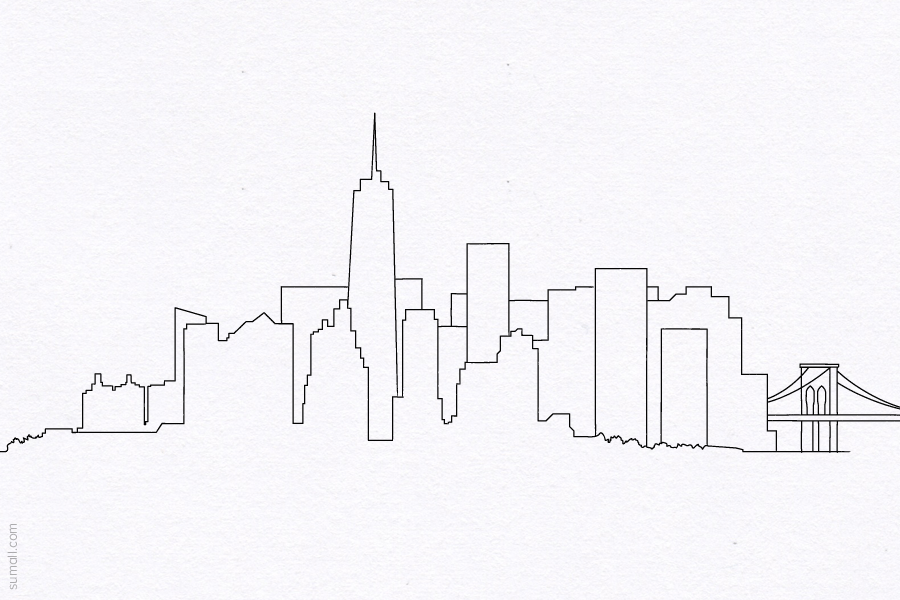 Drawn skyline doodle Design manhattan drawing wtc manhattan