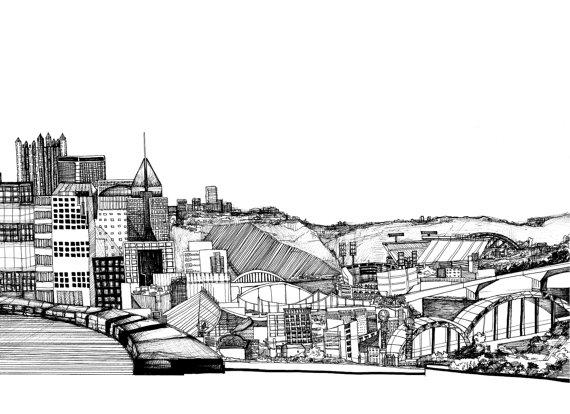 Drawn skyline easy Illustration Framing City Pittsburgh Print