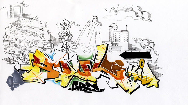 Drawn skyline graffiti skyline NO KIDS  FUTURE