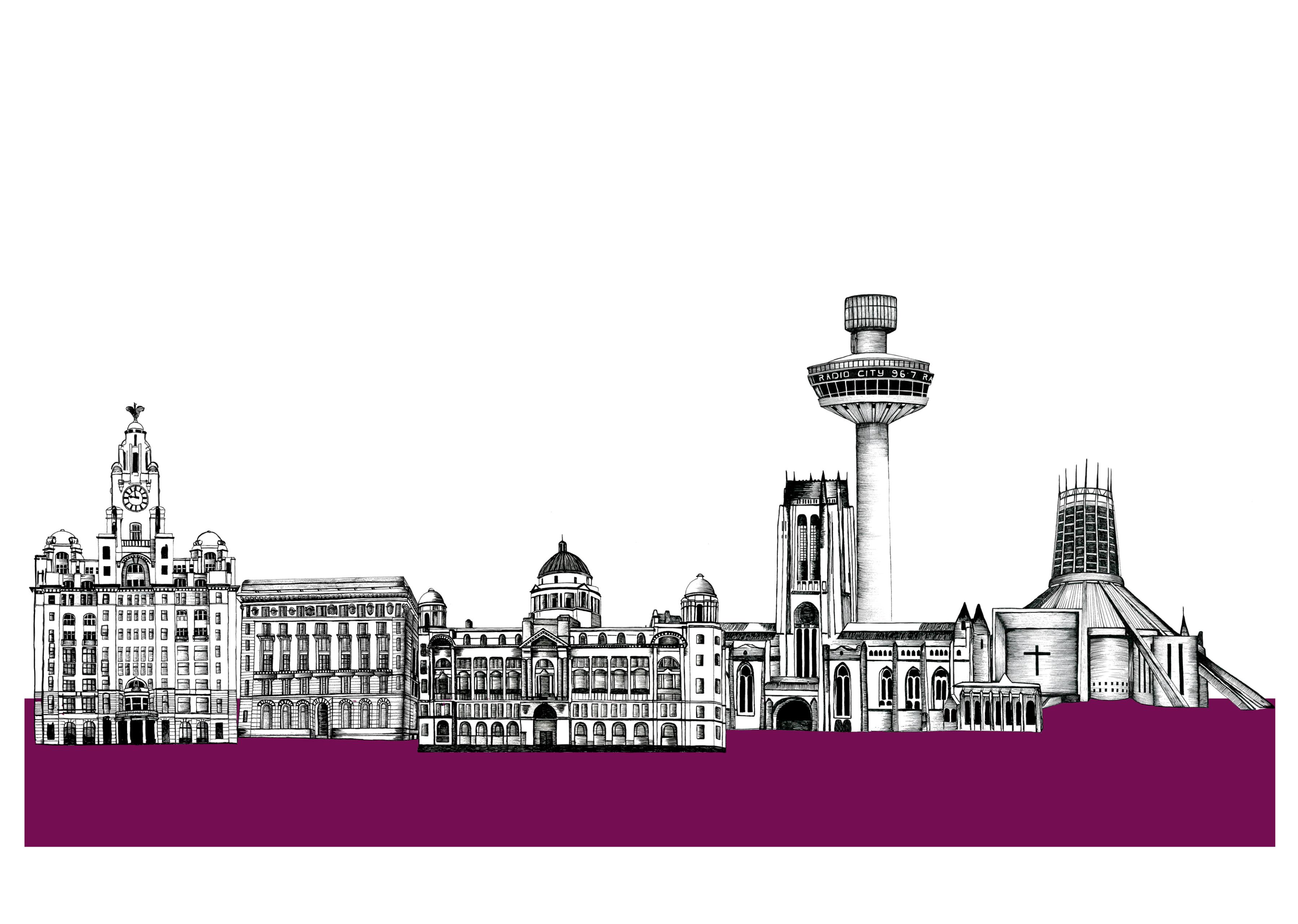 Drawn skyline liverpool Liverpool City Google Skyline and