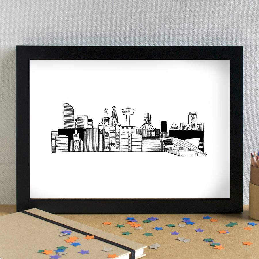 Drawn skyline liverpool Griffin Print becka  skyline