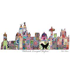 Drawn skyline liverpool Century patchwork  Art the