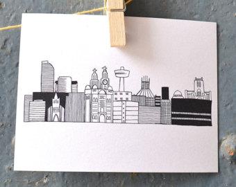 Drawn skyline liverpool Drawing Skyline Postcard Liverpool UK
