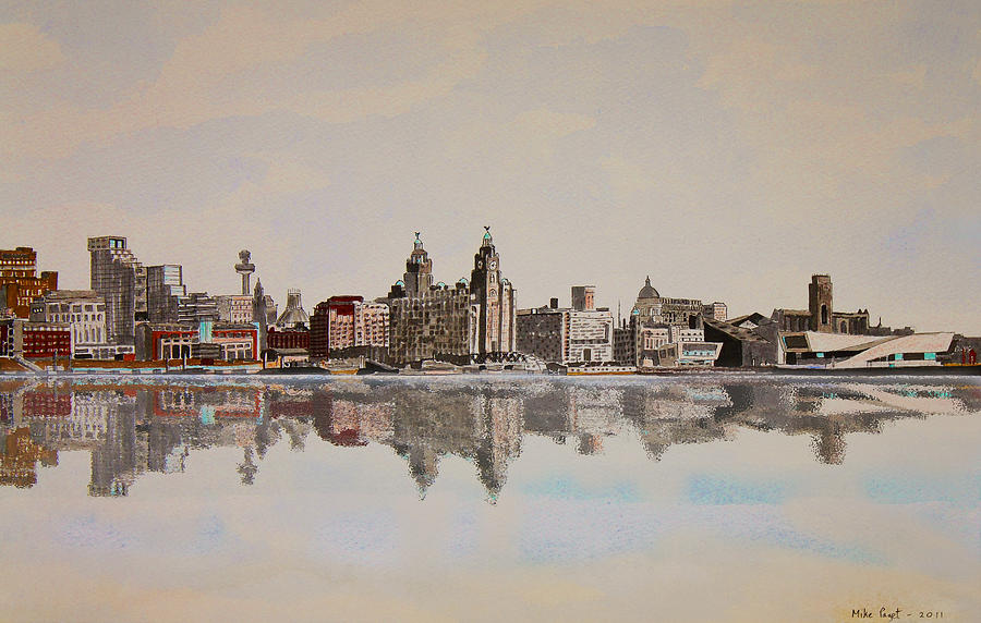 Drawn skyline liverpool Waterfront Liverpool Drawing Drawing by