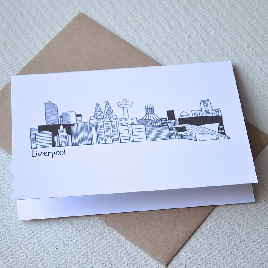Drawn skyline liverpool Becka Greetings griffin Skyline liverpool