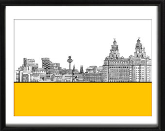 Drawn skyline liverpool Etsy Art Liverpool Poster Pierhead