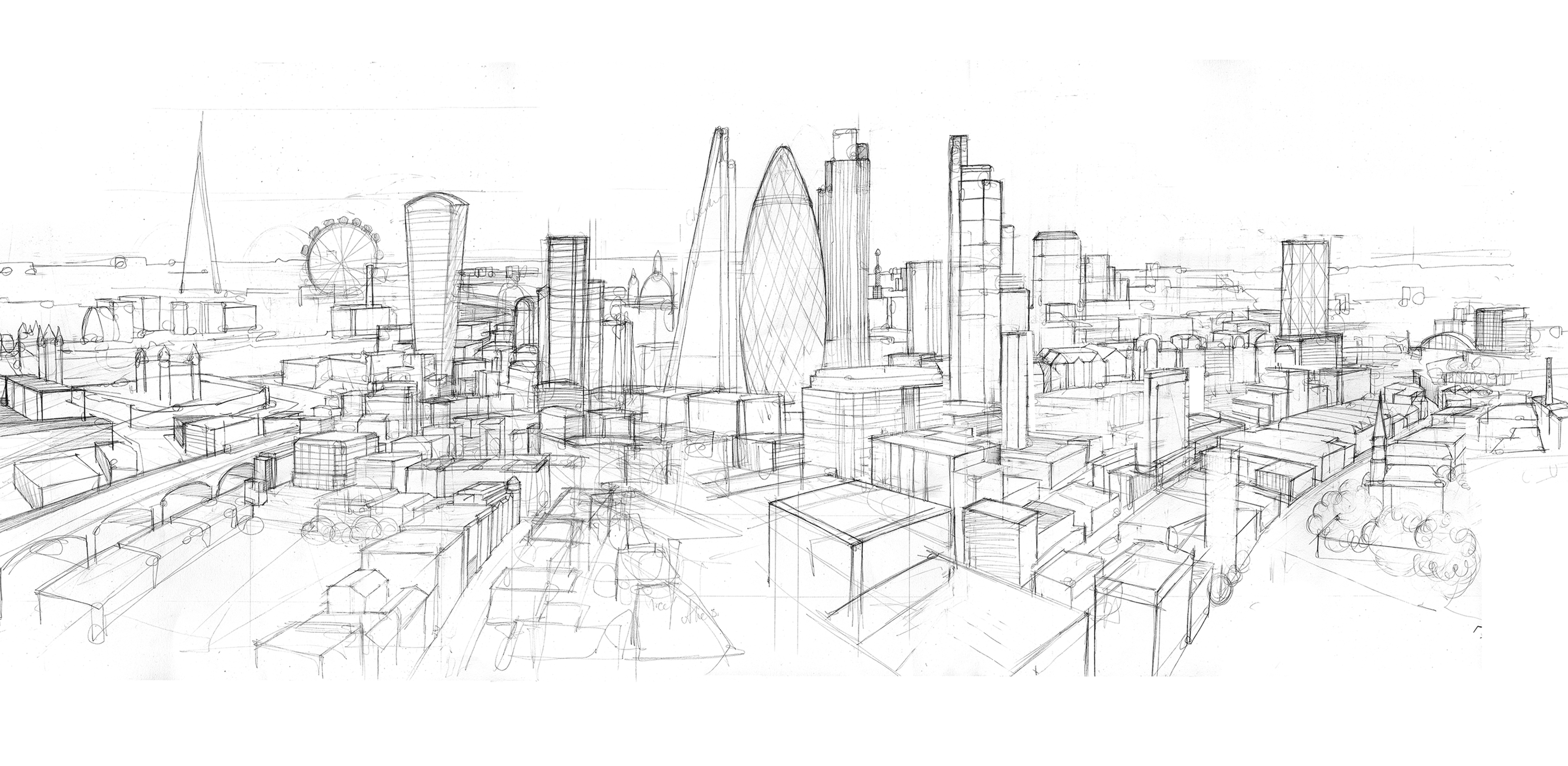 Drawn skyline london Illustrated sketch panorama2 extended sketch