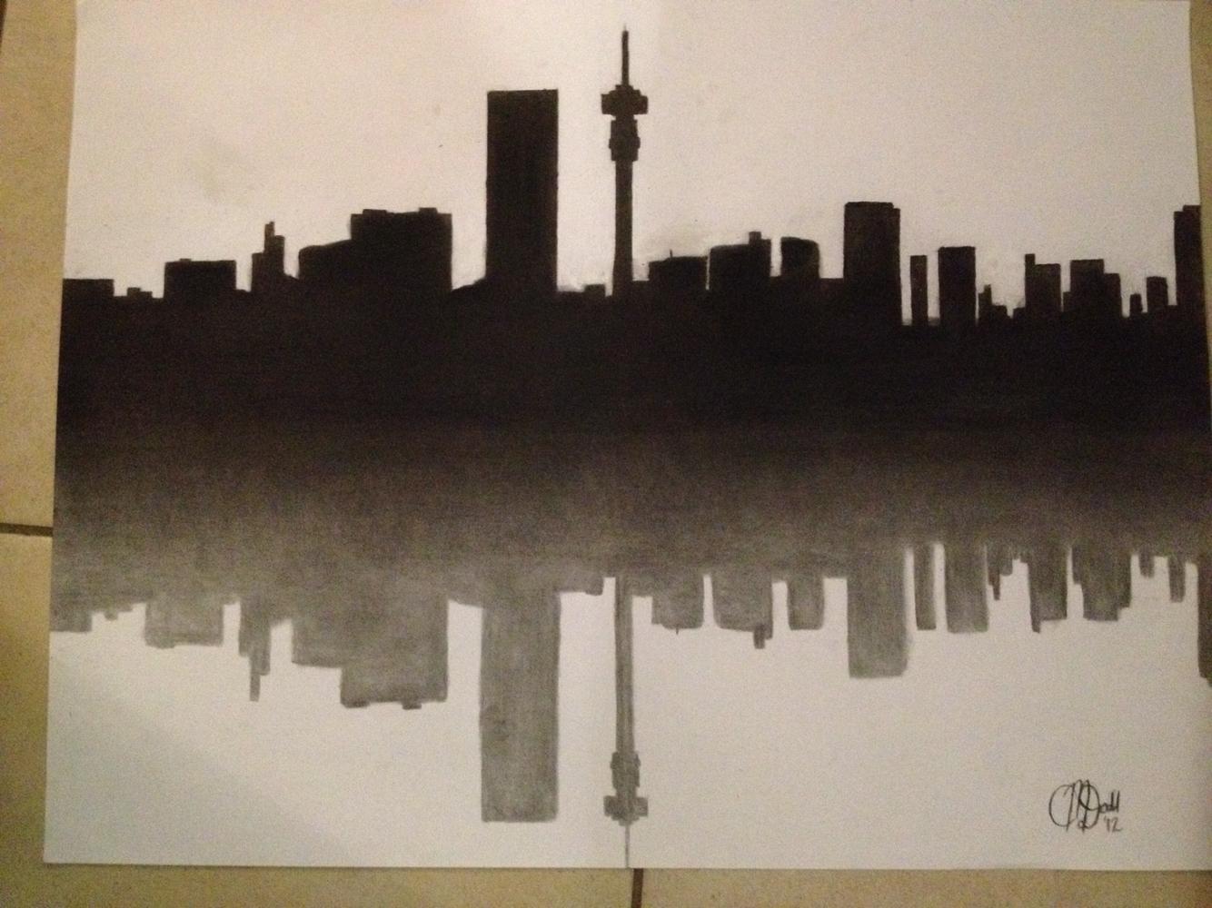 Drawn skyline pop art South Johannesburg drawing skyline of