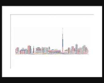 Drawn skyline pop art Map Color skyline Poster Print