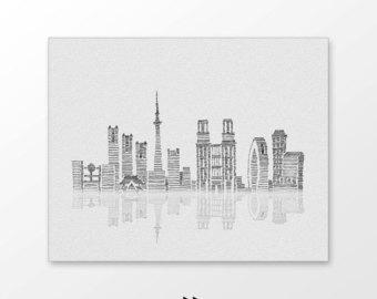 Drawn skyline pop art Line drawn wall Monochrome illustration