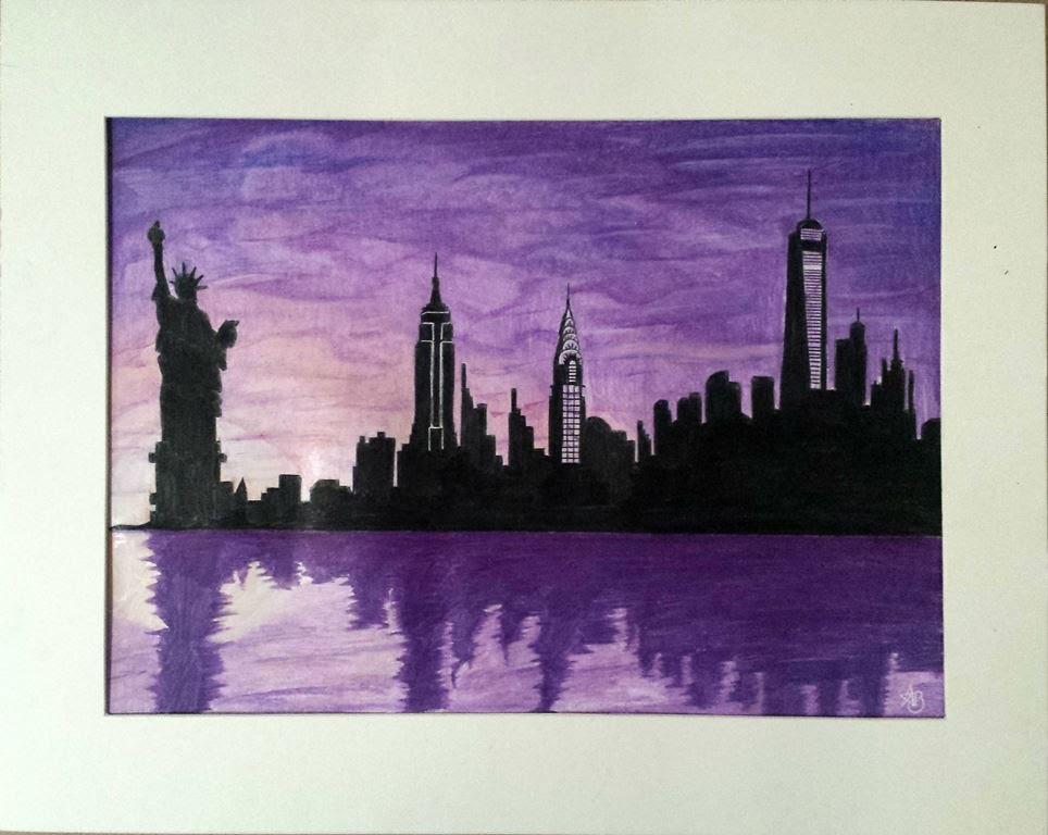 Drawn skyline silhouette Drawing York New New Skyline