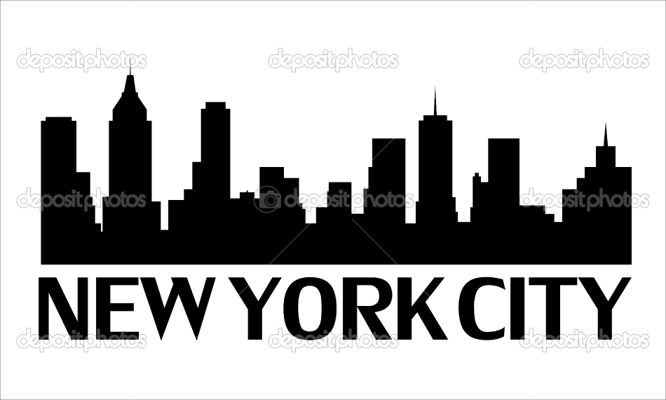Drawn skyline silhouette NEW YORK fully Architectural Skyline