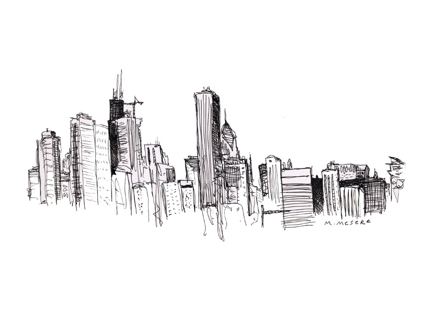 Drawn skyline simple Images Download Drawing Chicago Art