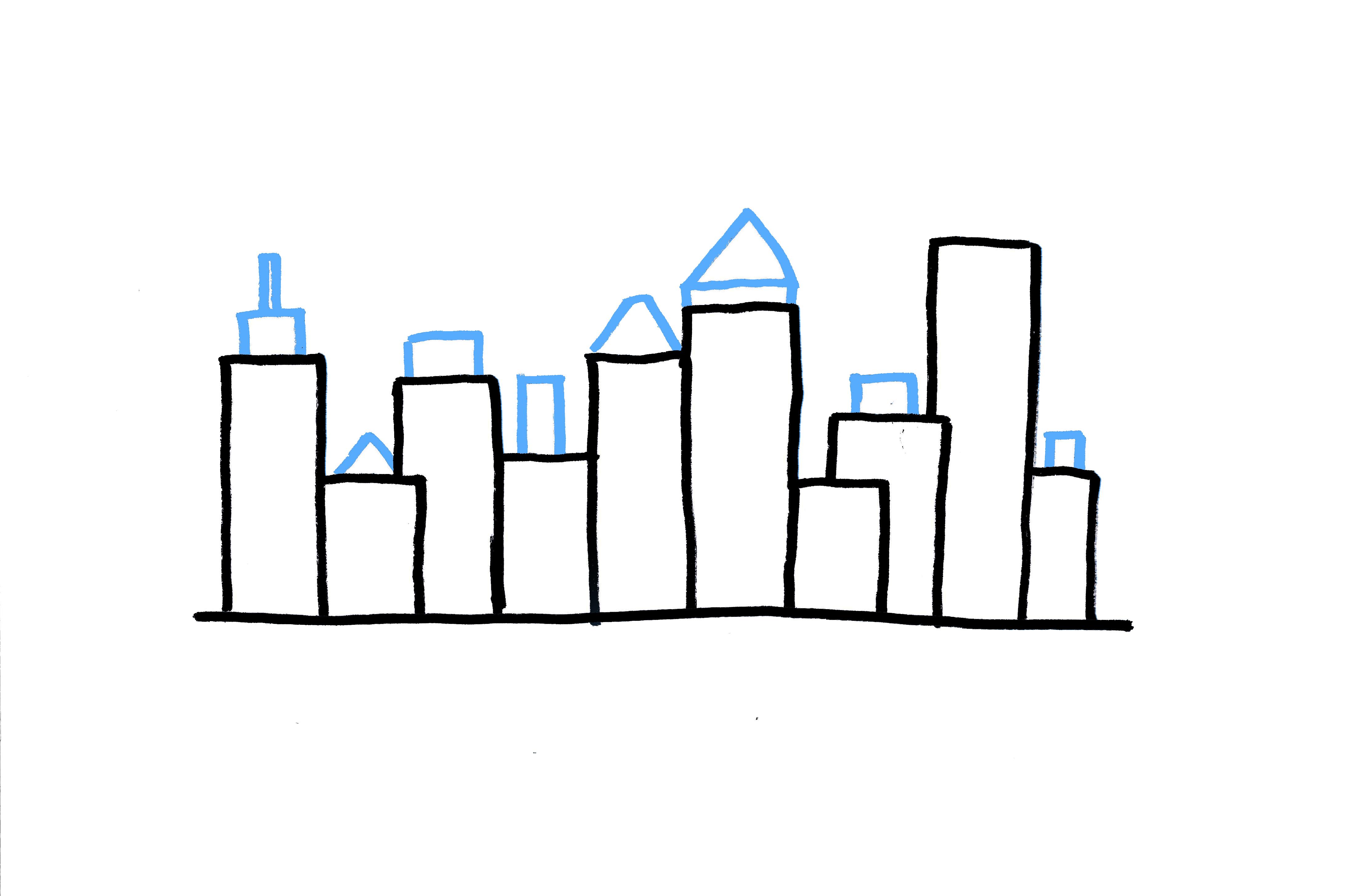 Drawn skyline simple Ways building 3 Draw How