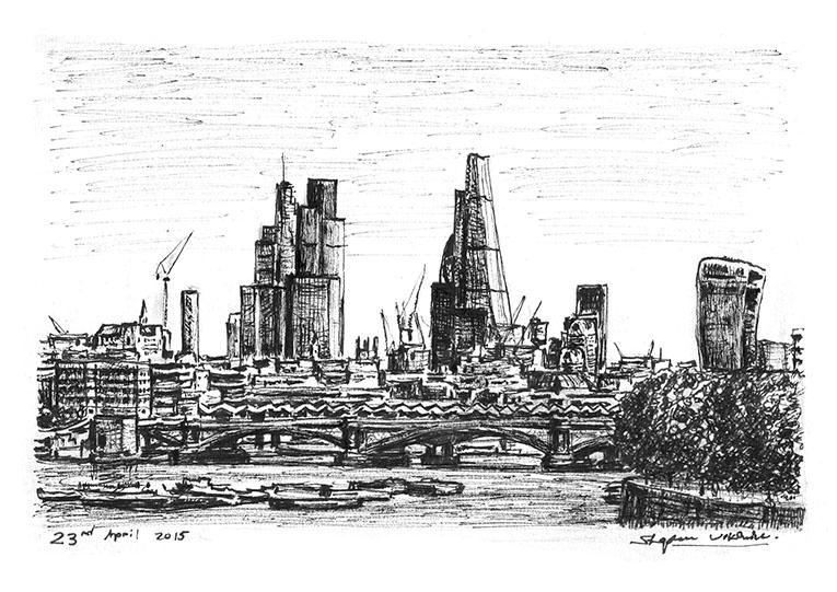Drawn bridge london waterloo Wiltshire drawings City from of