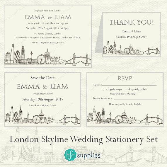 Drawn skyline thank you London Skyline Wedding hand Il_570xn