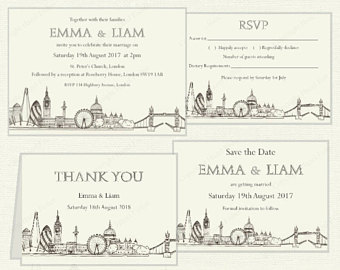 Drawn skyline thank you Wedding Skyline printable UK Invitation