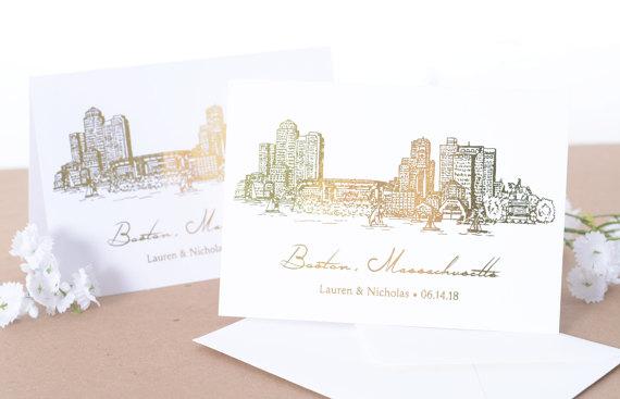 Drawn skyline thank you Boston Wedding HAND Stationery Il_570xn