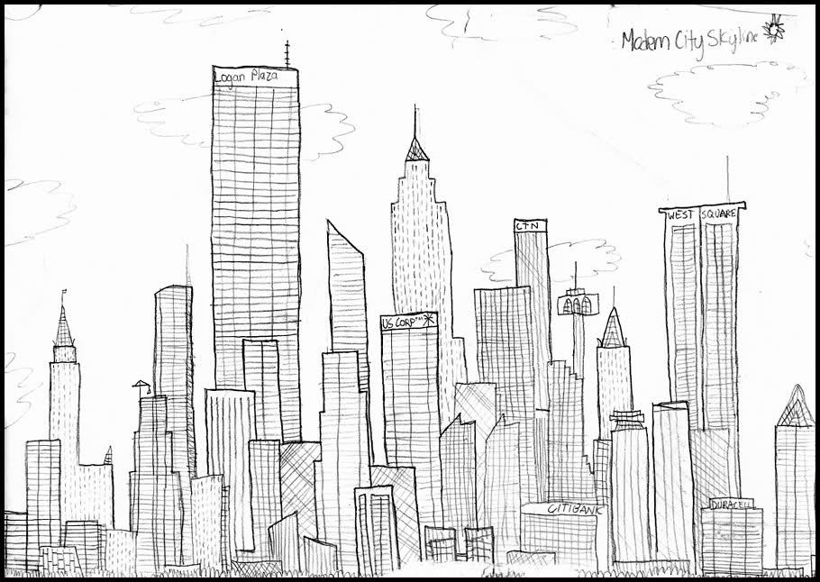 Картинки мегаполиса для срисовки, открытки своими руками