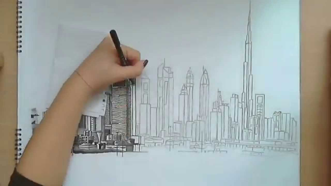 Drawn scenery cityscape  YouTube Dubai Drawing: