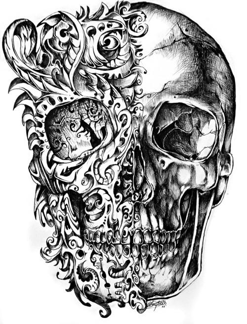 Drawn skeleton abstract Black Art White black art