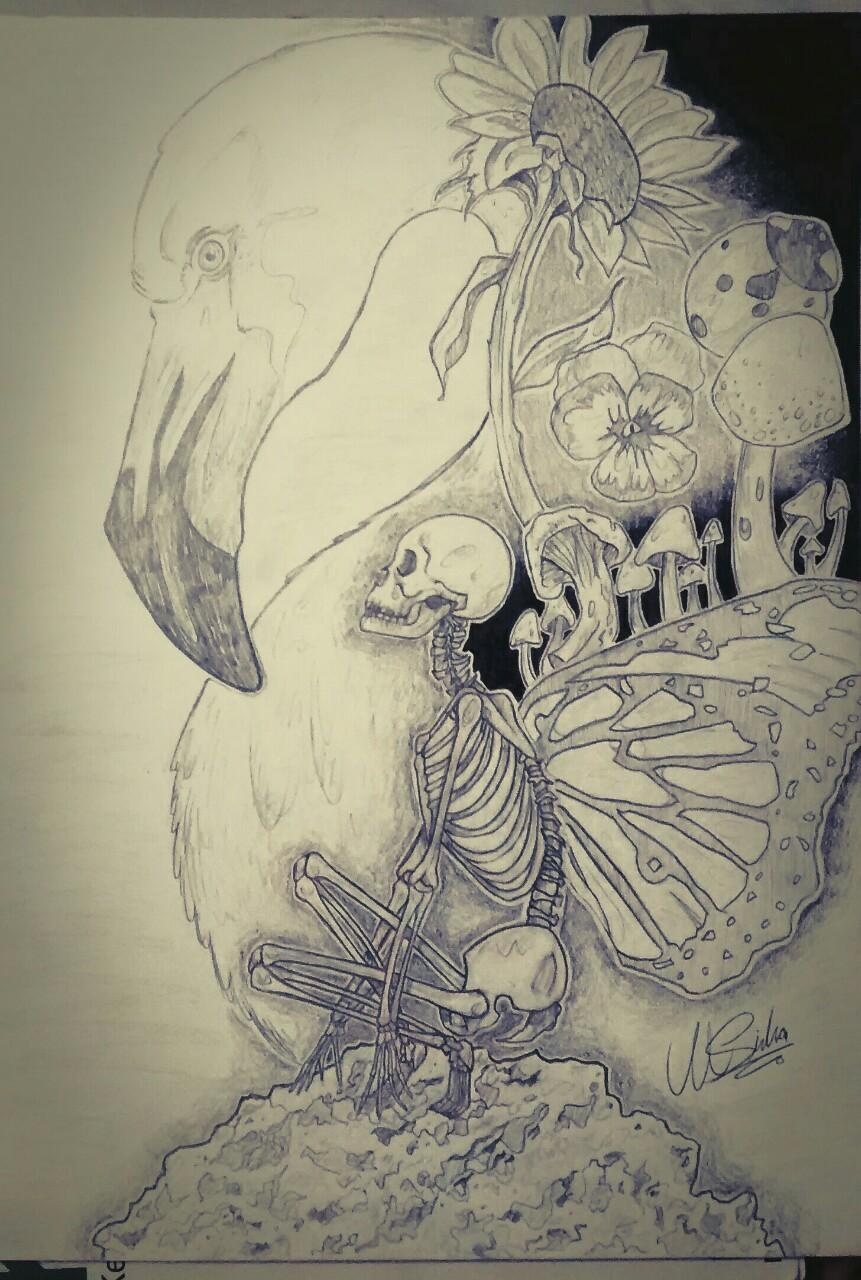 Drawn skeleton abstract Original black  skeleton flowers