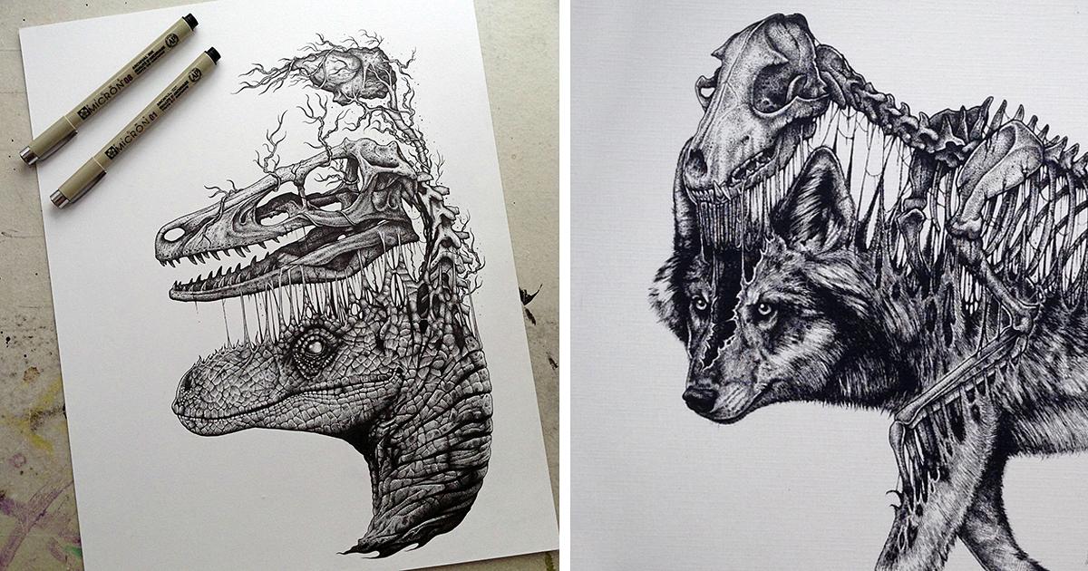 Drawn skeleton abstract Stunning Jackson Leave Animals Drawings