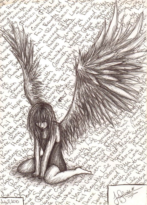 Drawn sleleton angel @deviantART Fallen Angel Angel deviantart