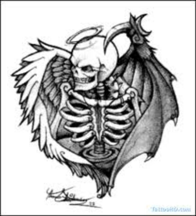 Drawn sleleton angel Angel/Devil winged about #tattoo images