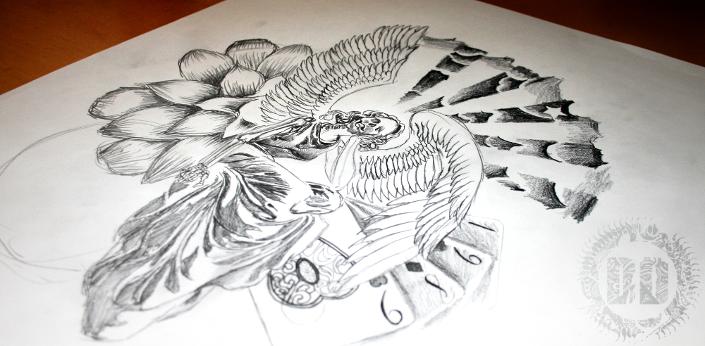 Drawn sleleton angel Graphic Angel Tattoo Angel from