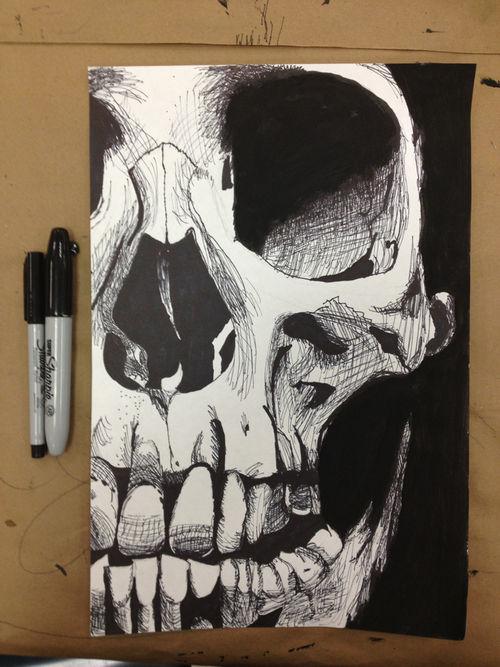Drawn sleleton awesome Drawing Cool pencil morbid pen