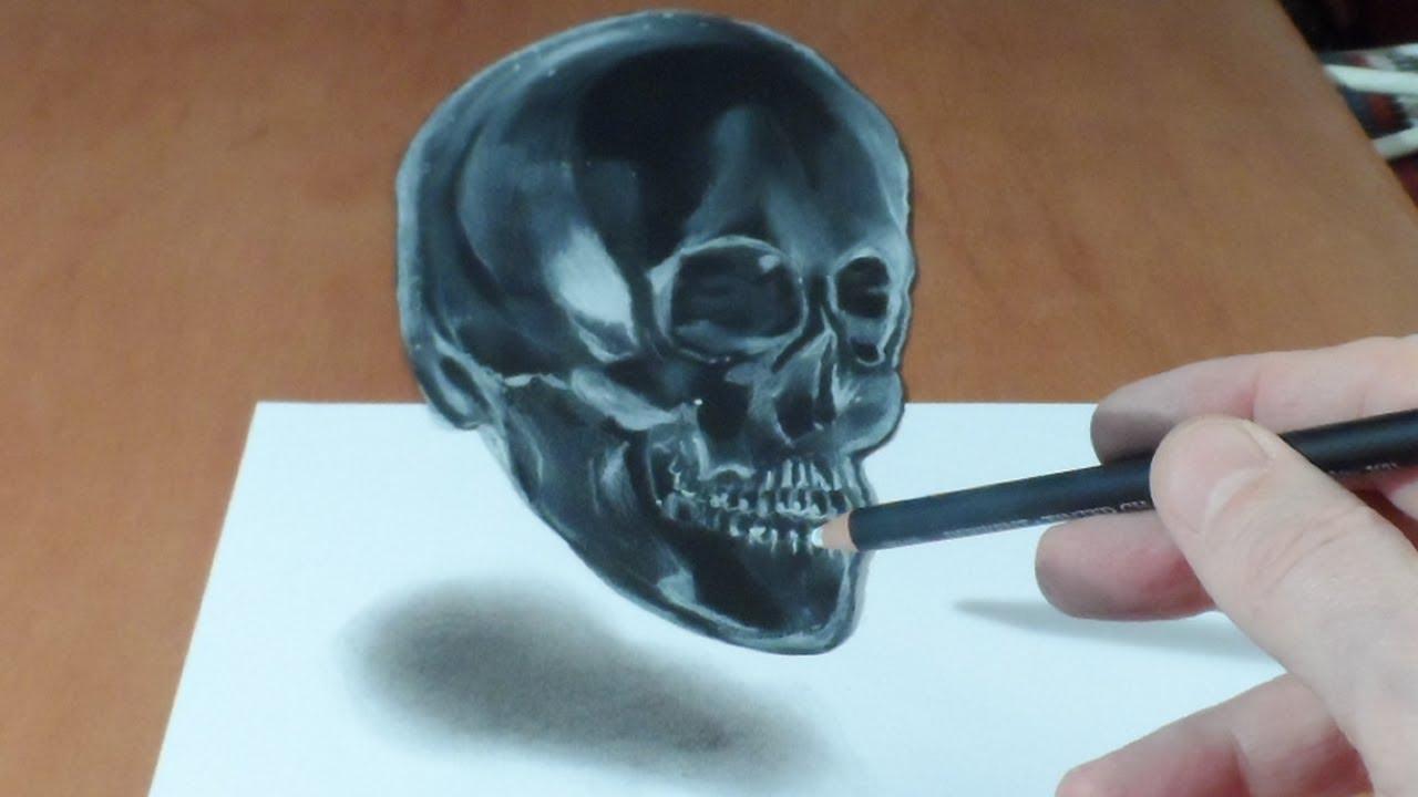 Drawn sleleton awesome Skull Illusion Draw 3D Art