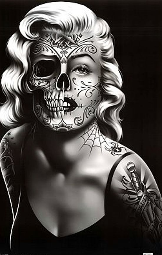Drawn sugar skull skeleton head Drawing Art blond drawing Face