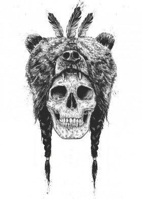 Drawn sleleton bear Solti Balazs Displate animal shaman