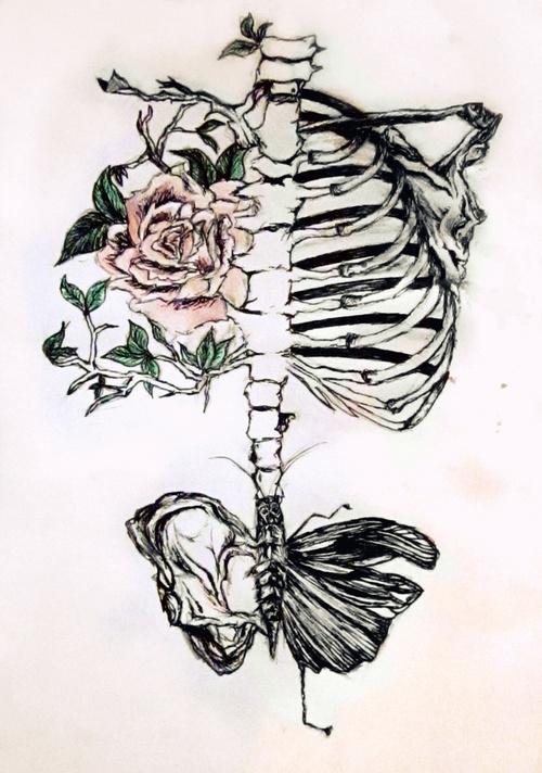 Drawn sleleton bone art Indie flower creative creative