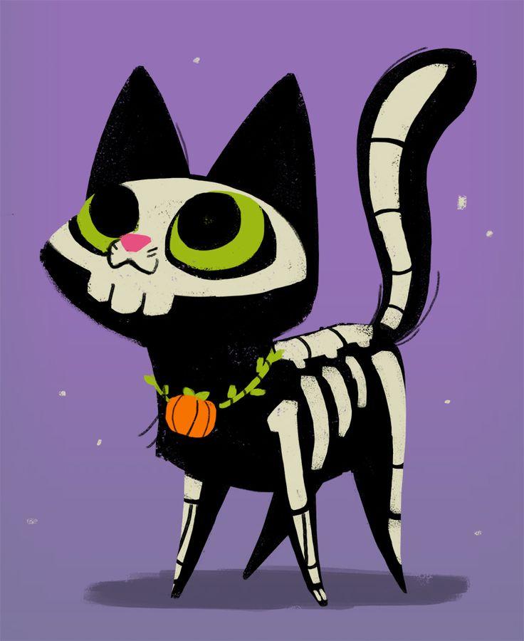 Drawn sleleton cat Daily Happy 311: !! cat