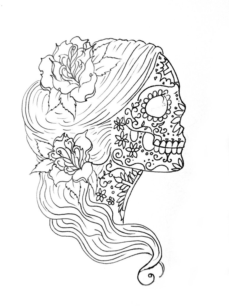 Drawn skeleton color Coloring: Drawing Pages Skull Sugar