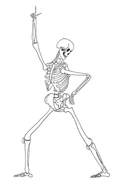 Drawn skeleton dancing  & A5 lively in
