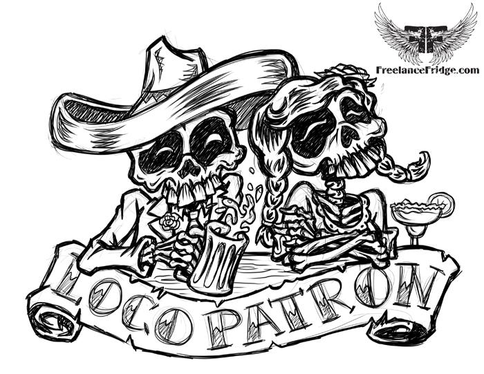 Drawn skeleton dia de los muertos Los De Cartoons Fridge :