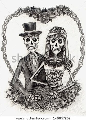 Drawn skeleton dia de los muertos The Jiewsurreal paper Art by