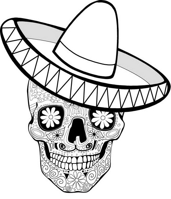 Day Of The Dead clipart coloring sheet Activities Posts Coloring Related of