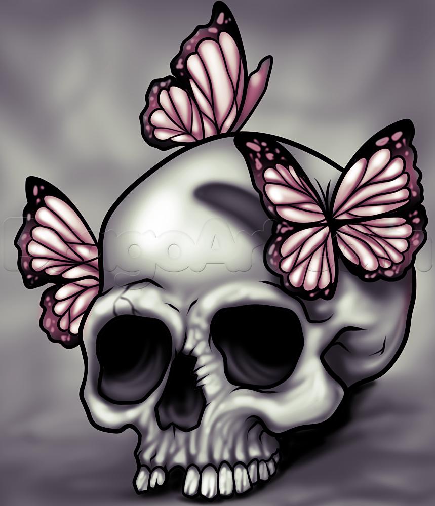Drawn butterfly skull rose Step Skull Butterflies Draw Step